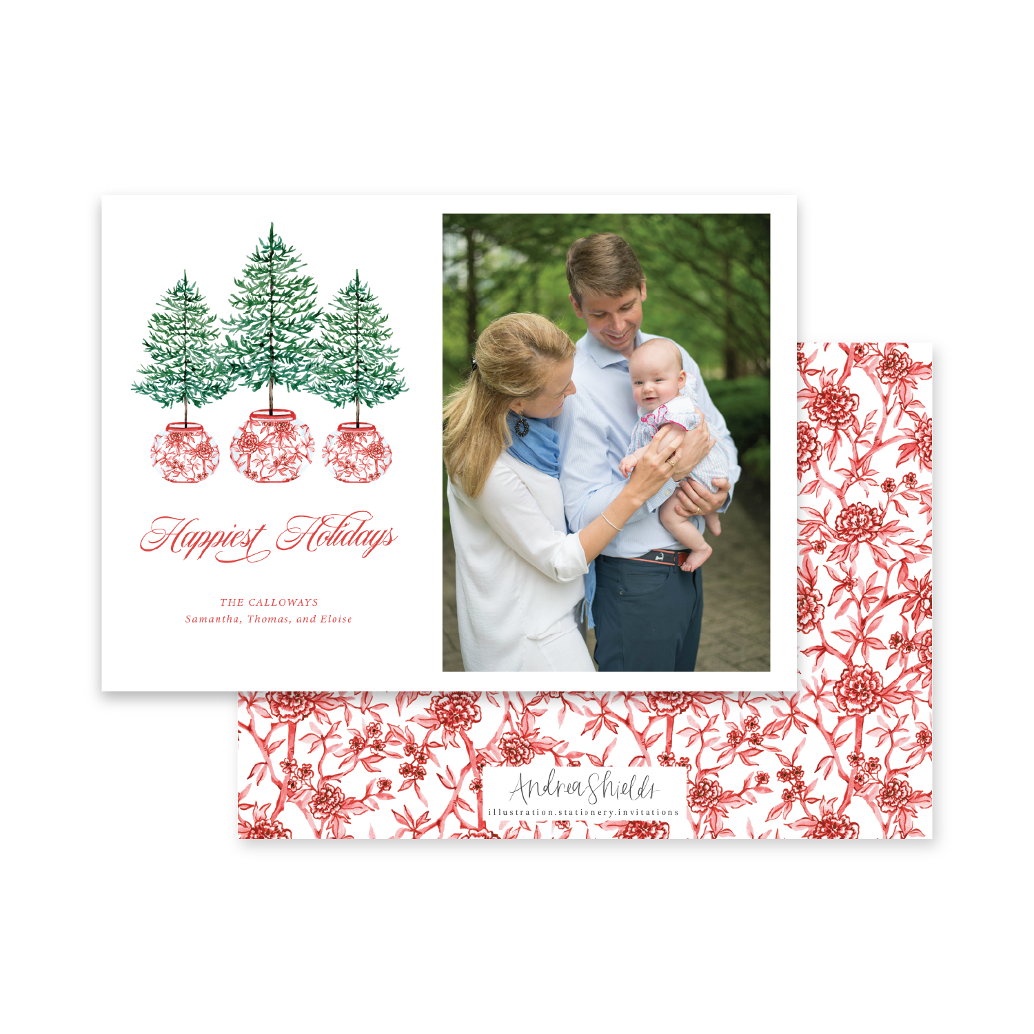 Three Trees Red Chinoiserie Landscape | Holiday Photo Card