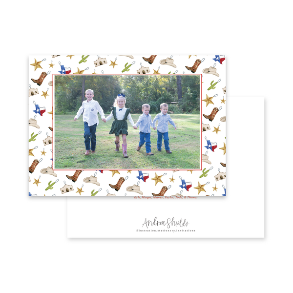 Texas Ornament Border Landscape | Holiday Photo Card