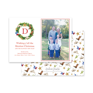 Texas Wreath Landscape | Holiday Photo Card