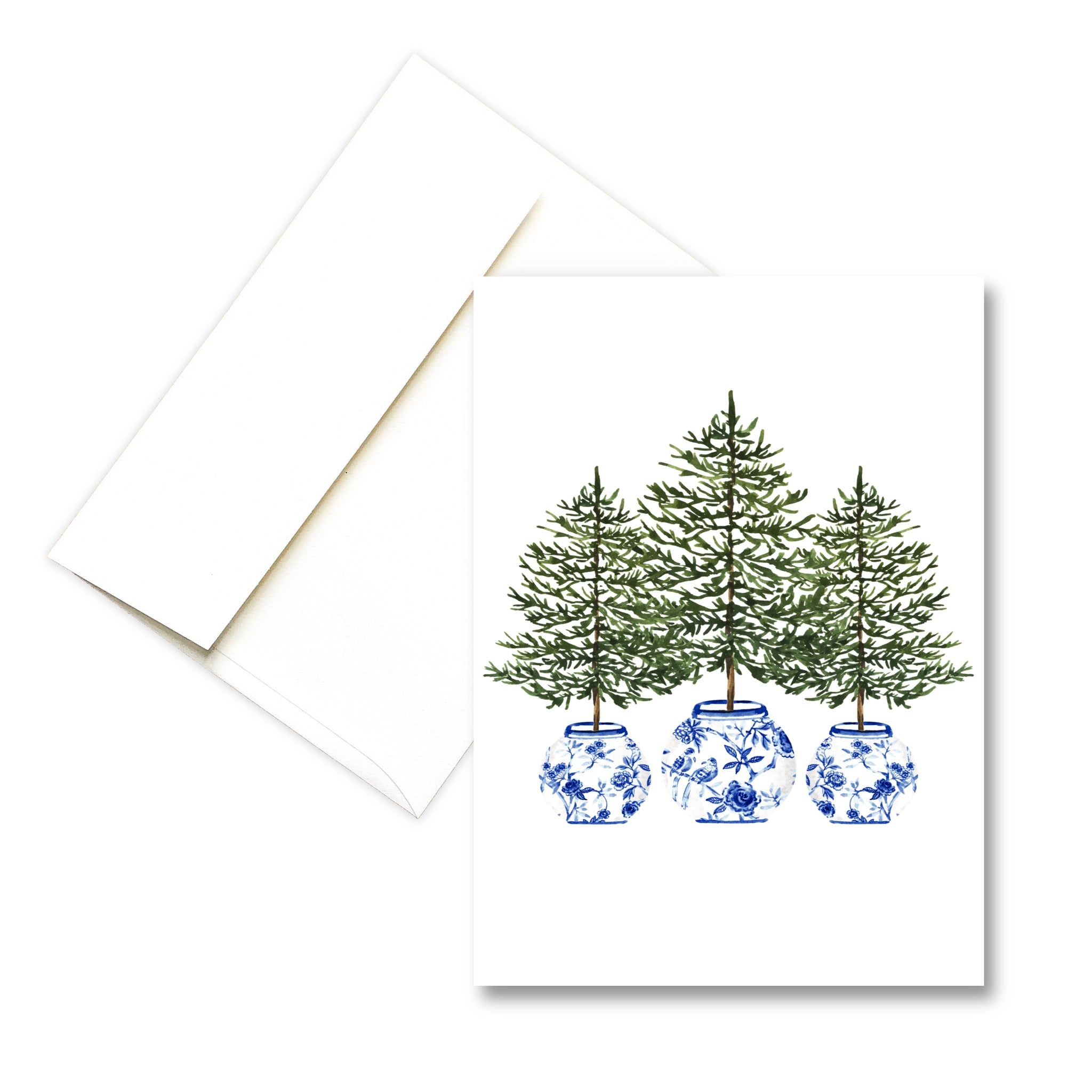 Three Trees Blue Chinoiserie | Christmas Greeting Card