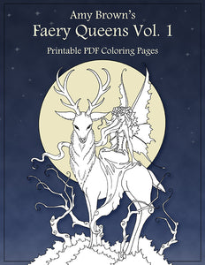 Coloring Book Digital Download Faery Queens Vol 1 Amy Brown Art