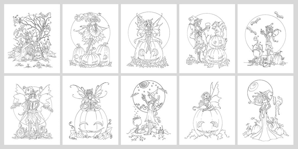 Coloring Book Digital Download Halloween Faeries Amy Brown Art
