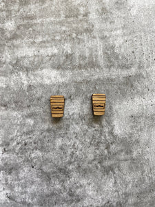 Bamboo Coffee Cup Earring Studs