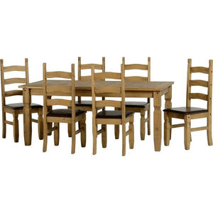 Corona 6ft Dining Set with brown seat pads