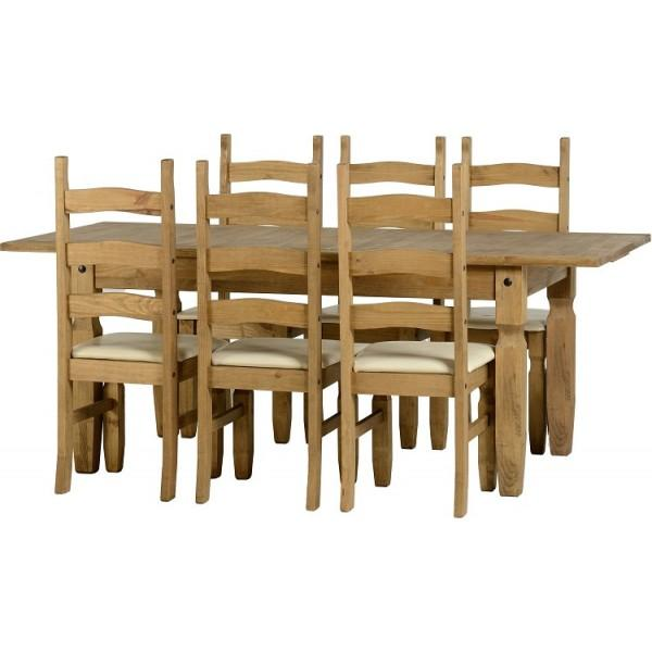 Corona Extending Dining Set with 6 chairs with cream seat pads