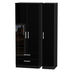 Knightsbridge 3 Door Tall Wardrobe With 2 Drawers