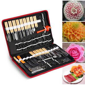 80 Pc Set - Portable Vegetable & Fruit Wood Box incl. Engraving, Peeling, & Carving Tools