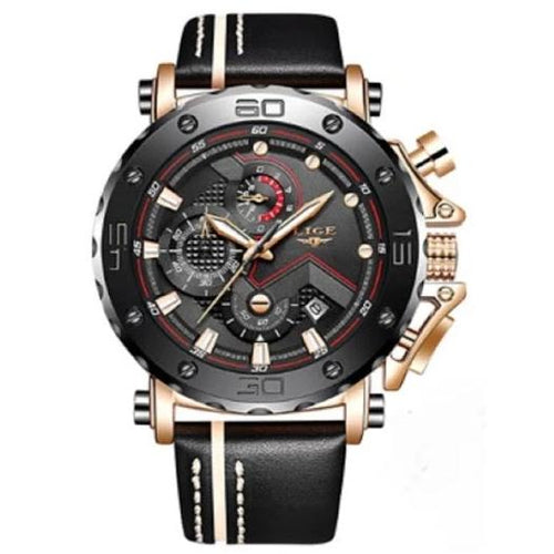 Hardlex Leather Sport Chronograph - Men's watch by LIGE - HANDS OV CHRONOS