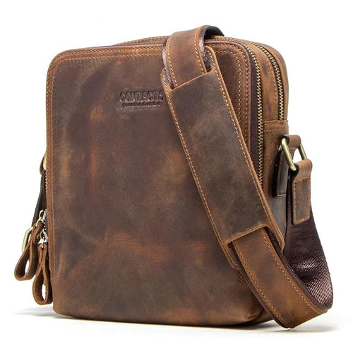 Genuine Leather Vintage - Men's Messenger Bag - HANDS OV CHRONOS