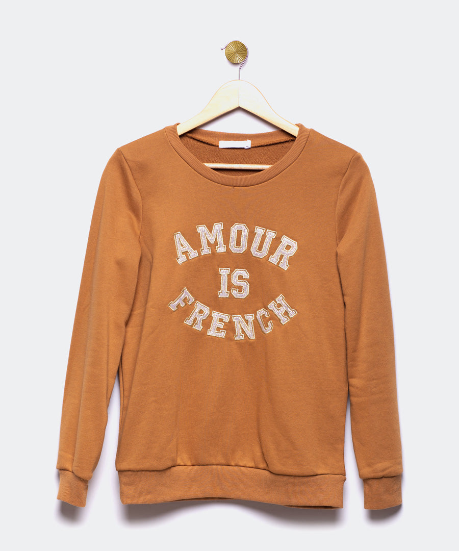 "Sudadera marrón ""Amour is French"""