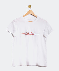 "Camiseta blanca y roja ""With love"""