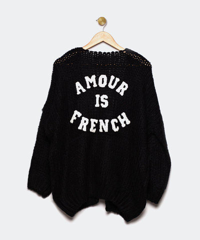"Cardigan negro ""Amour is French"""