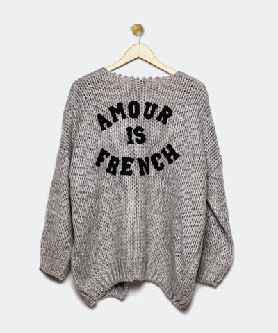 "Cardigan gris ""Amour is French"""