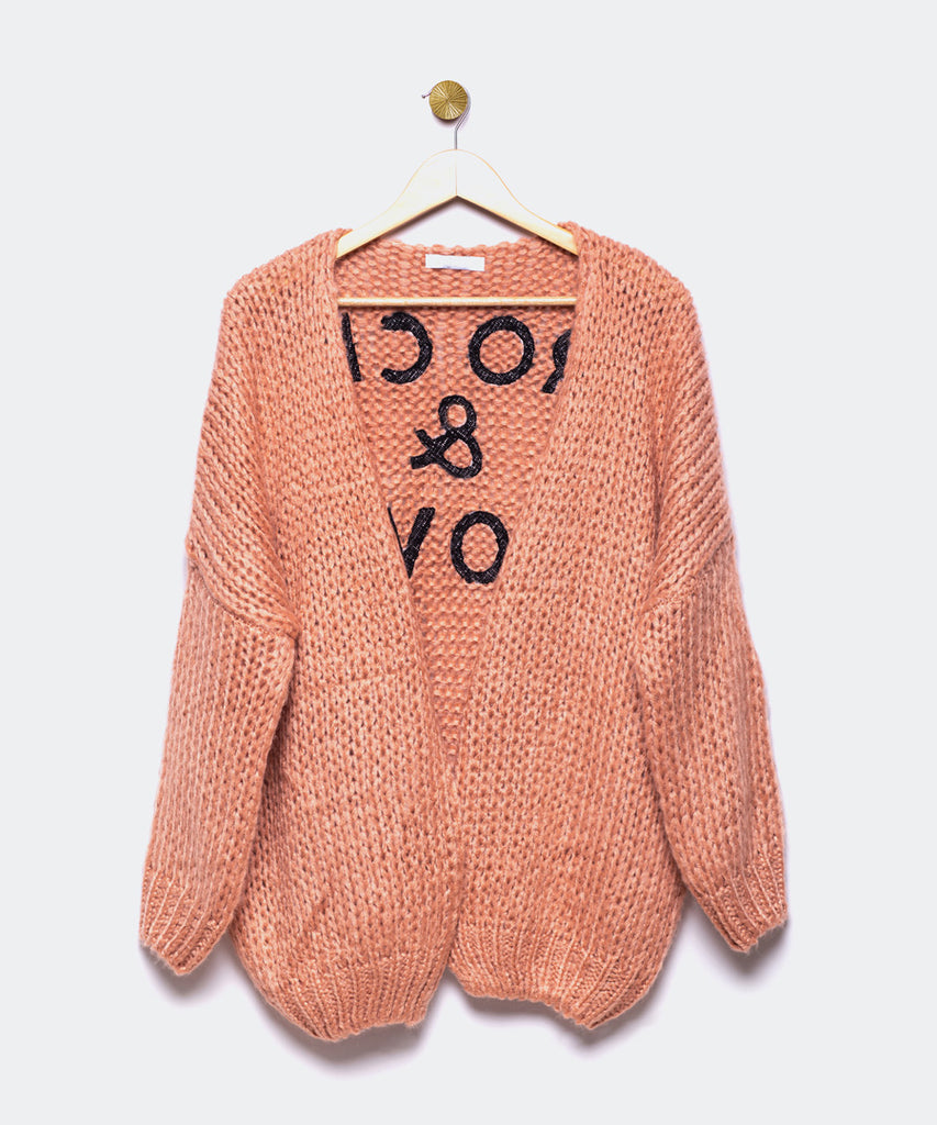 "Cardigan rosé ""Rock and Love"""