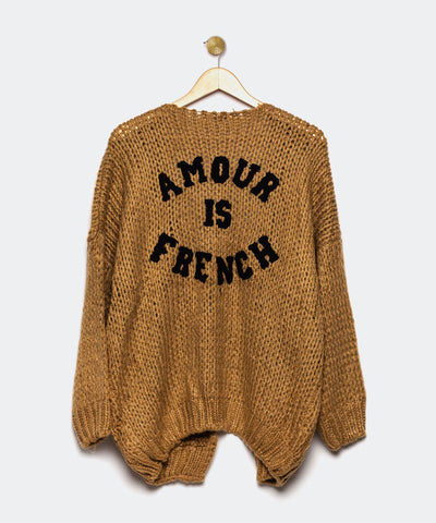 "Cardigan marrón oscuro ""Amour is French"""