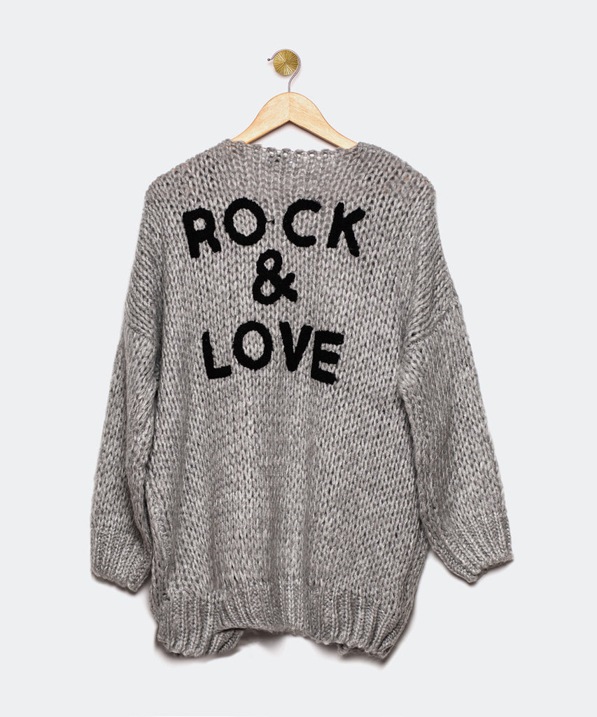 "Cardigan gris ""Rock and Love"""