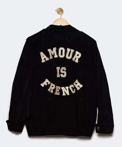 "Chaqueta negra ""Amour is French"""