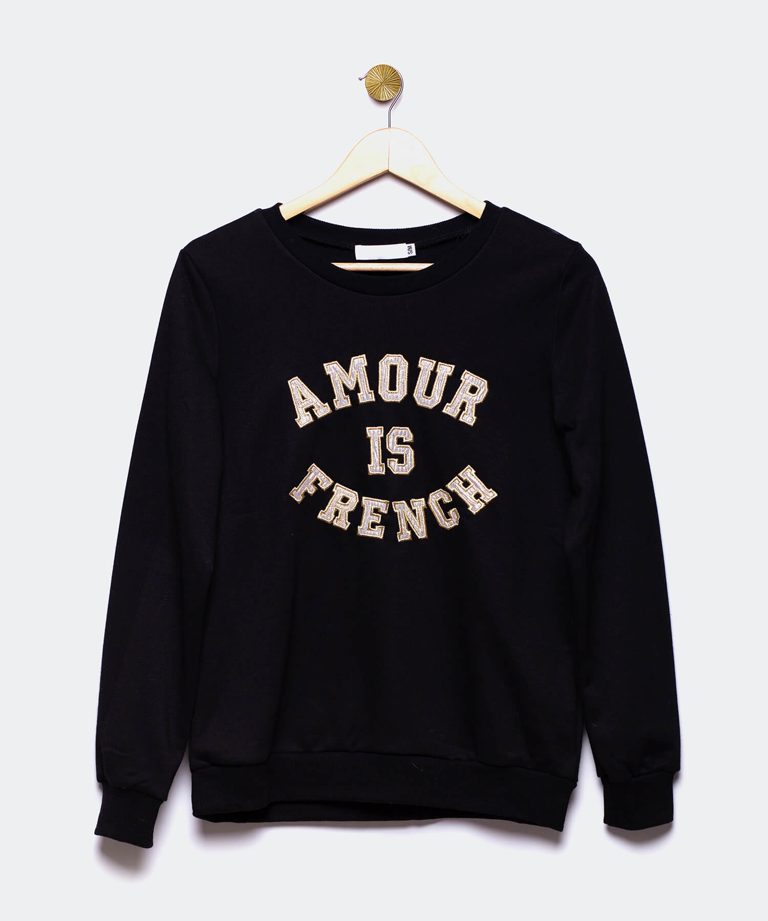 "Sudadera negra ""Amour is French"""