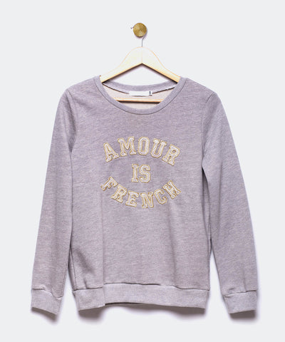 "Sudadera gris claro ""Amour is French"""