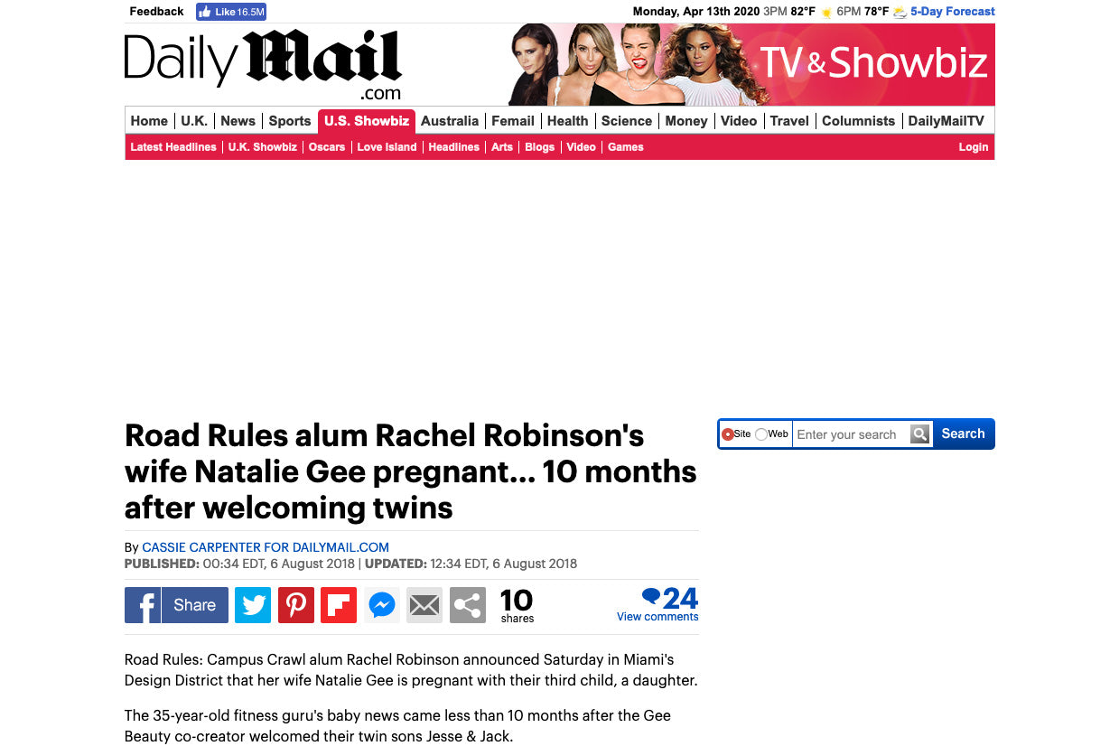 Daily Mail: Road Rules alum Rachel Robinson's wife Natalie Gee pregnant... 10 months after welcoming twins
