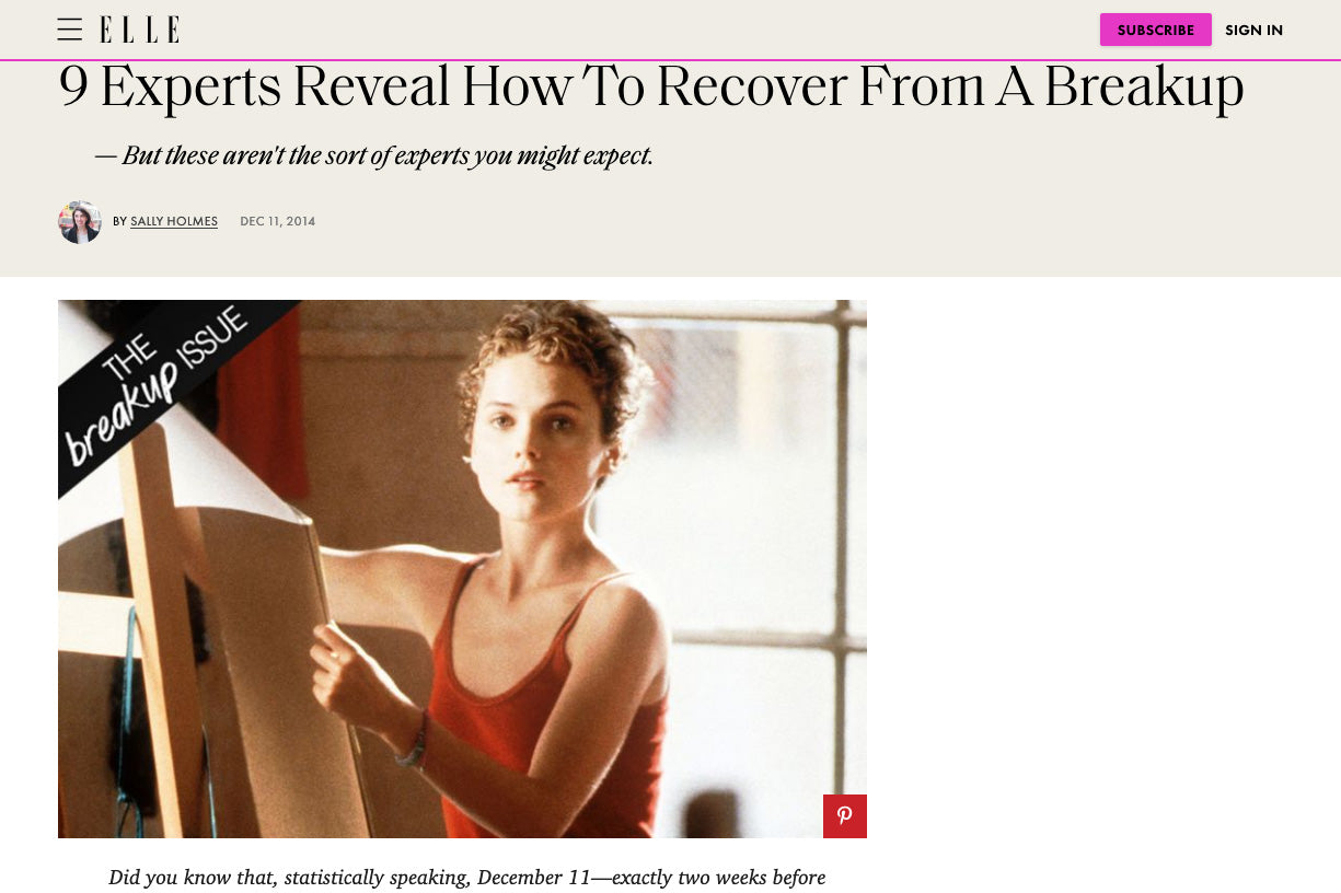 ELLE: 9 Experts Reveal How To Recover From A Breakup