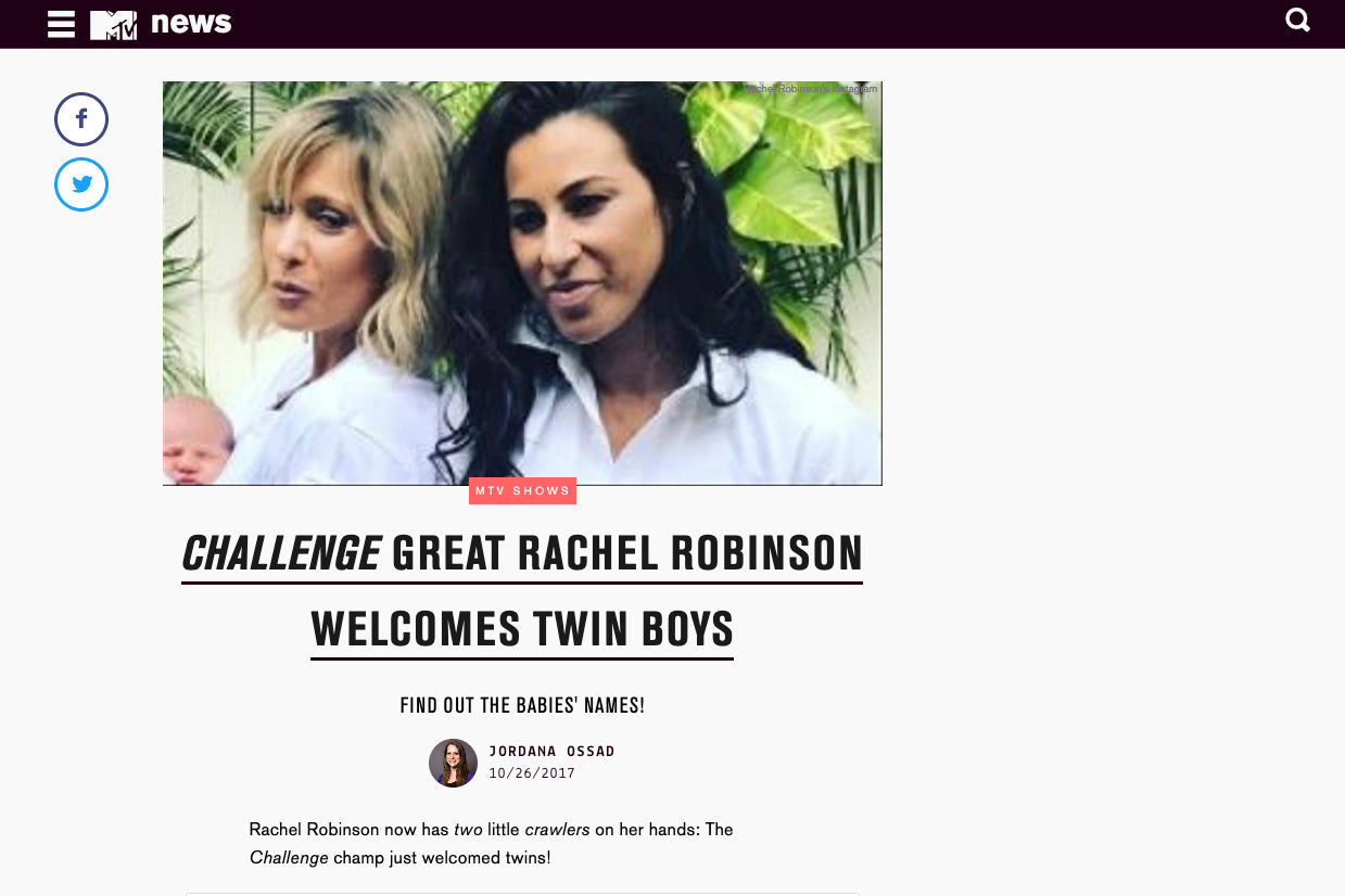 MTV News: Challenge Great Rachel Robinson Welcomes Twin Boys