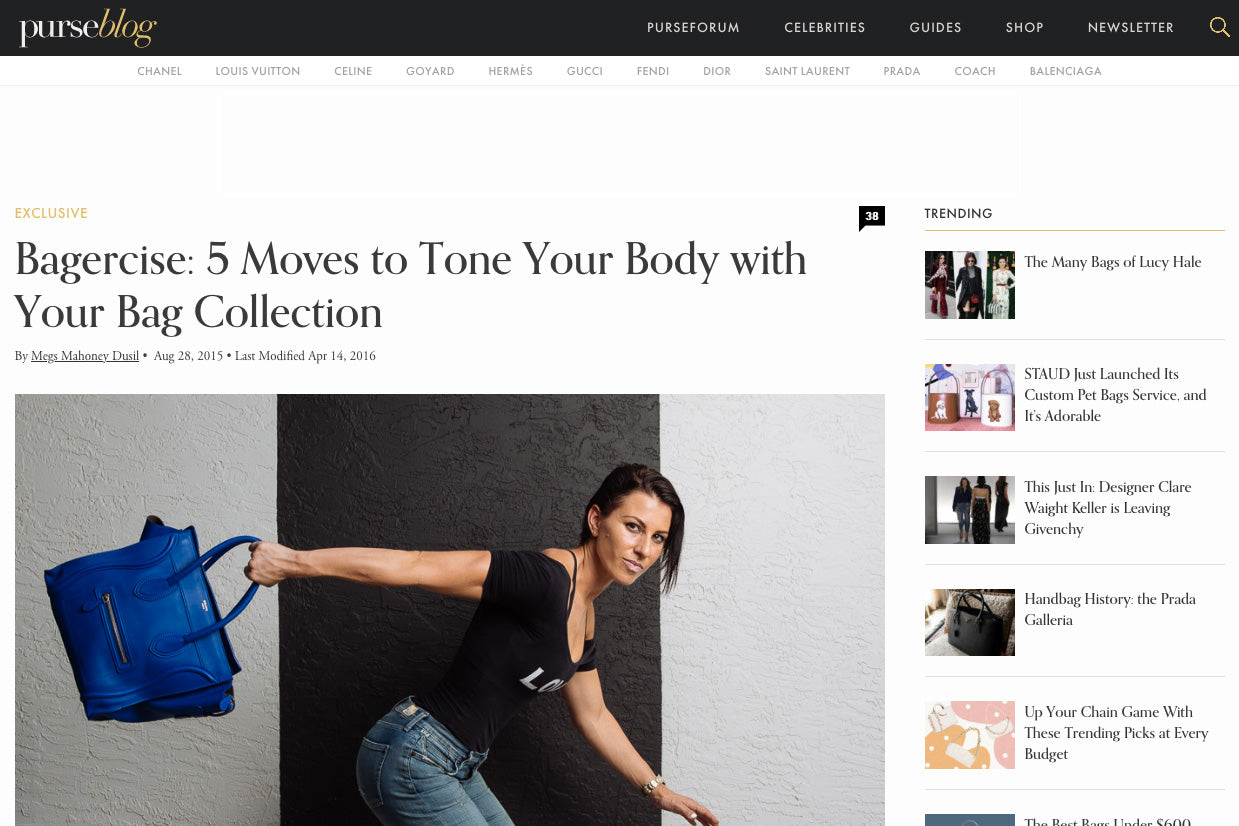 PurseBlog: Bagercise: 5 Moves to Tone Your Body with Your Bag Collection