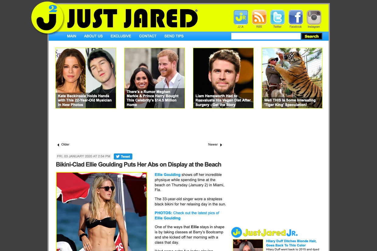 Just Jared: Bikini-Clad Ellie Goulding Puts Her Abs on Display at the Beach