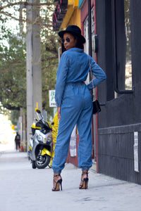 Denim Long-Sleeve Jumpsuit | Skylar