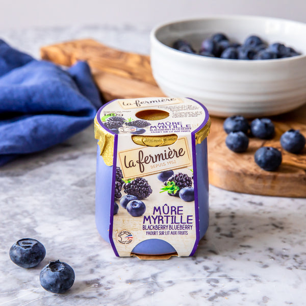 Blueberry and Blackberry Yogurt, La Fermière (140g)