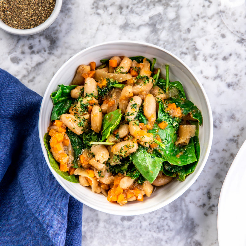 Haricot Beans with Spinach