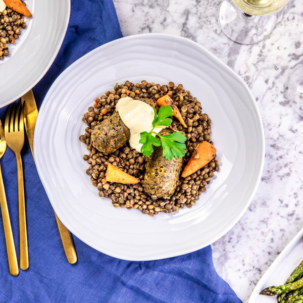 Vegetarian Sausages with Puy lentils
