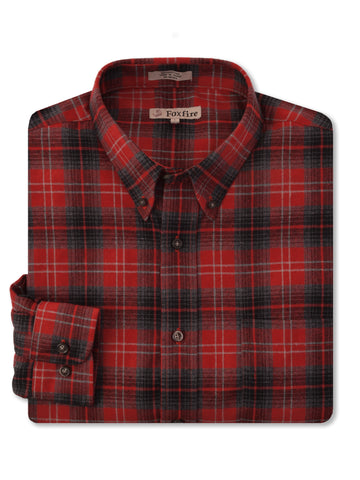 Foxfire L/S Flannel Shirt in Red - Regular Sizes