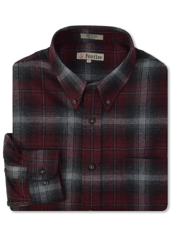 Foxfire L/S Flannel Shirt in Wine - Tall Man Sizes