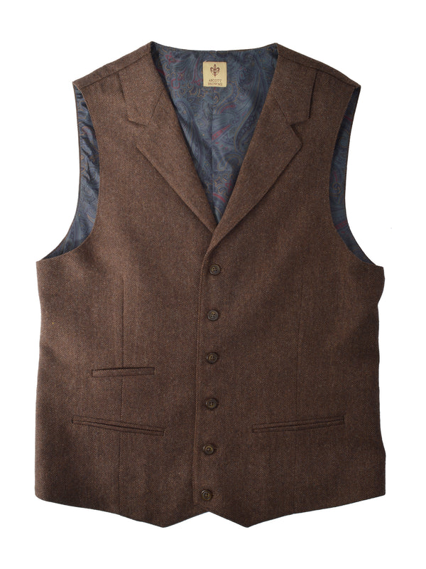 Ascott Browne Buxton Vest in Rust - Big Sizes