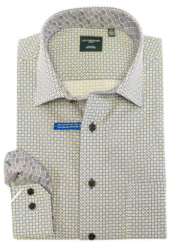 Leo Chevalier 100% Cotton Non-Iron Sport Shirts in Blue - Tall Man Sizes