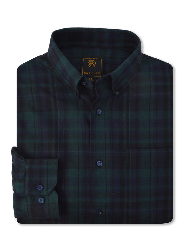 F/X Fusion Flannel Plaid Shirt in Green - Tall Man Sizes