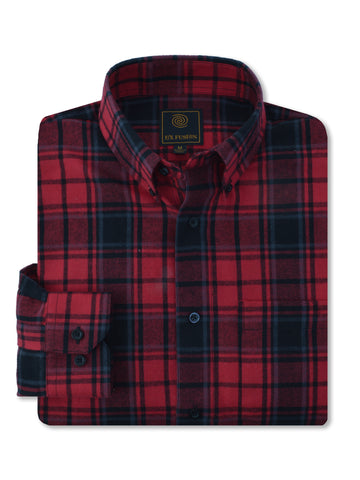 F/X Fusion Flannel Plaid Shirt in Red/Black - Big Man Sizes