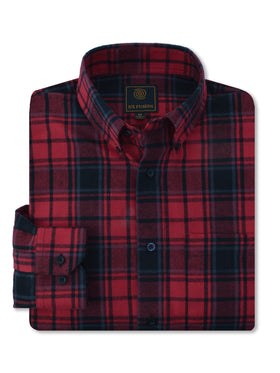 F/X Fusion Flannel Plaid Shirt in Red/Black - Tall Man Sizes