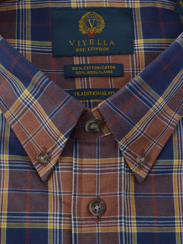 Viyella Wool Blend Sportshirt in Brown - Big Man Sizes