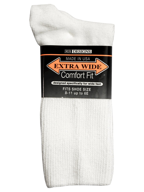 Extra Wide Men's Comfort Fit Athletic Crew Socks in White - Size Small (5 - 8)