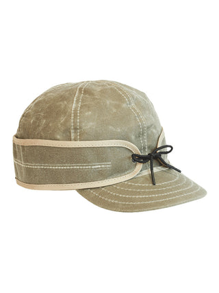 Origional Stormy Kromer Waxed Cotton Caps With Ear Band in Tan - 50420-TAN