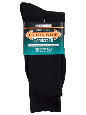 Extra Wide Men's Comfort Fit Dress Socks in Black
