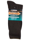 Extra Wide Men's Comfort Fit Dress Socks in Brown