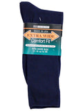 Extra Wide Men's Comfort Fit Dress Socks in Navy -