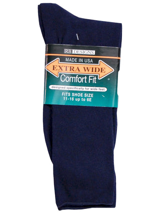 Extra Wide Men's Comfort Fit Dress Socks in Navy - Size Medium (8.5 - 11.5)