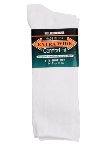 Extra Wide Men's Comfort Fit Dress Socks in White
