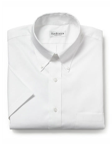 Van Heusen Short Sleeve Pinpoint Dress Shirts - Re