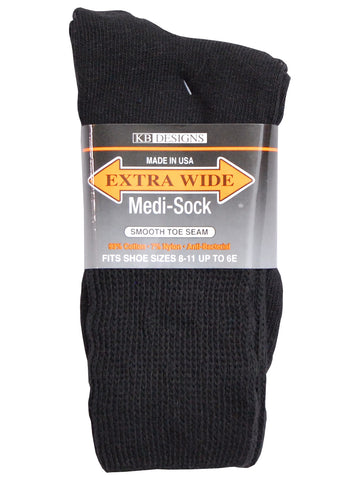 Extra Wide Medical Crew Sock in Black - Size Small