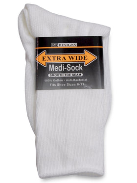 Extra Wide Medical Crew Sock in White - Size Large